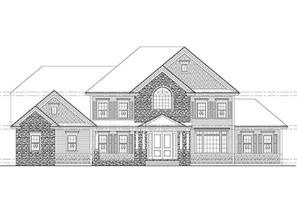 Rendering of the Front Exterior of 29 Hedgerow Lane, Westwood MA