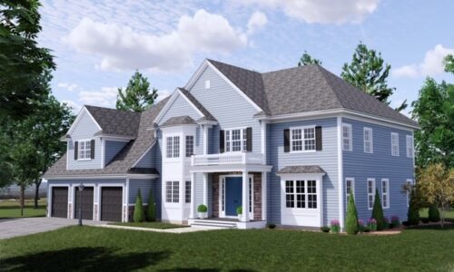 Front Exterior Rendering of 33 Hedgerow Lane, Westwood MA