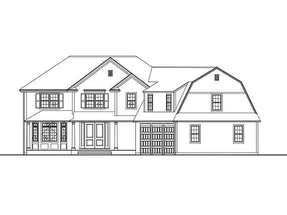 Front Exterior Rendering of 26 Hedgerow Lane, Westwood MA